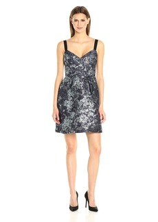 Vera Wang Women's Sleeveless Jacquard Cocktail Dress with Ribbon Straps