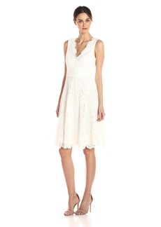 Vera Wang Women's Sleeveless Double Vneck Scallop Lace Cocktail Dress