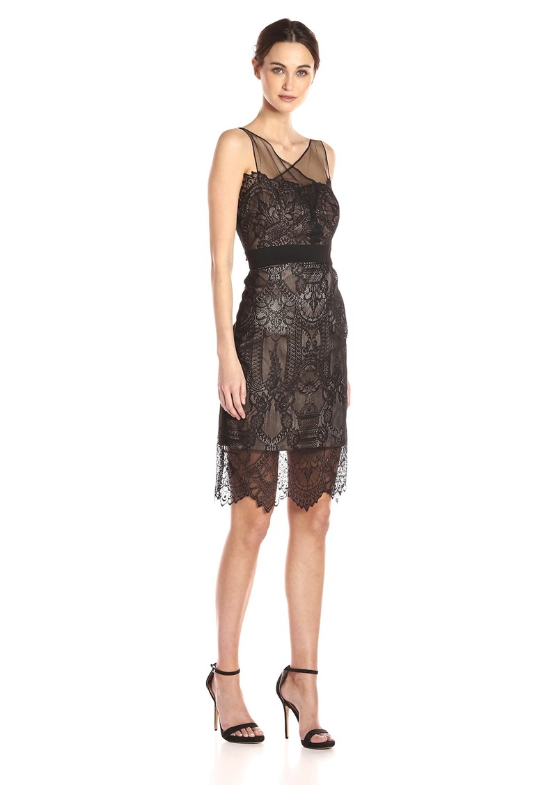 7a08c91c5db Vera Wang Women s Sleeveless Lace Cocktail Dress with Illusion Neckline