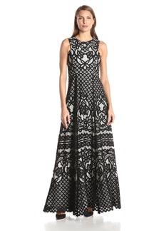 Vera Wang Women's Sleeveless Lace Gown black/White