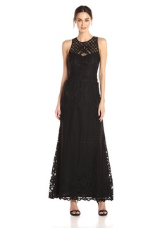 Vera Wang Women's Sleeveless Lace Gown with Illusion Neckline