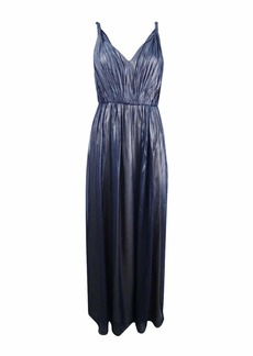 Vera Wang Women's Sleeveless Metallic Chiffon Gown