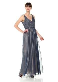 Vera Wang Women's Sleeveless Metallic Chiffon Gown