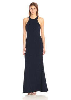 Vera Wang Women's Sleeveless Scuba Crepe Fitted Dress with Open Back Detail