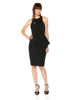 Vera Wang Women's Sleeveless Stretch Cocktail Dress with Side Ruffle