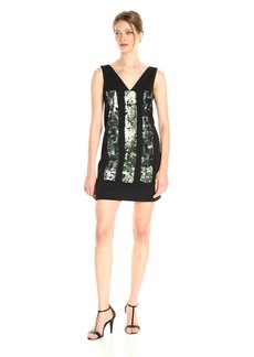 Vera Wang Women's Sleeveless V Neck Cocktail Dress with Sequins Embellishment