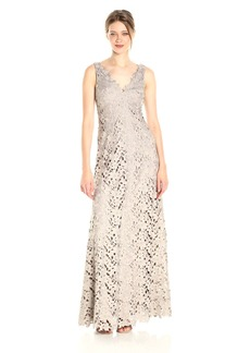 Vera Wang Women's Sleeveless V Neck Lace Gown with Scallop Detail