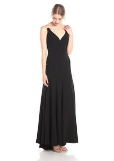 Vera Wang Women's Sleeveless V Neck With Organza Back Long Dress