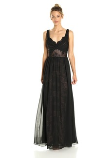 Vera Wang Women's Sleevless Lace Gown with Overlay