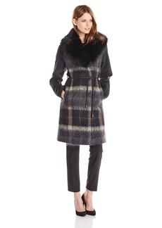 Vera Wang Women's Sohphie Plaid Wool Coat with Faux Fur Collar
