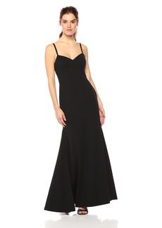 Vera Wang Women's Spaghetti Strap Sweetheart Neck Long Dress with Cutout Back