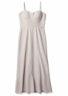 Vera Wang Women's Strapless Corset Tea Length Dress silt