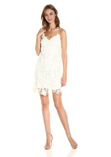 Vera Wang Women's Strapless V Neck 3D Lace Cocktail Dress with Peek-a-Boo Hem