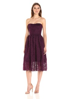 Vera Wang Women's Strappless Lace Tea Length Cocktail Dress