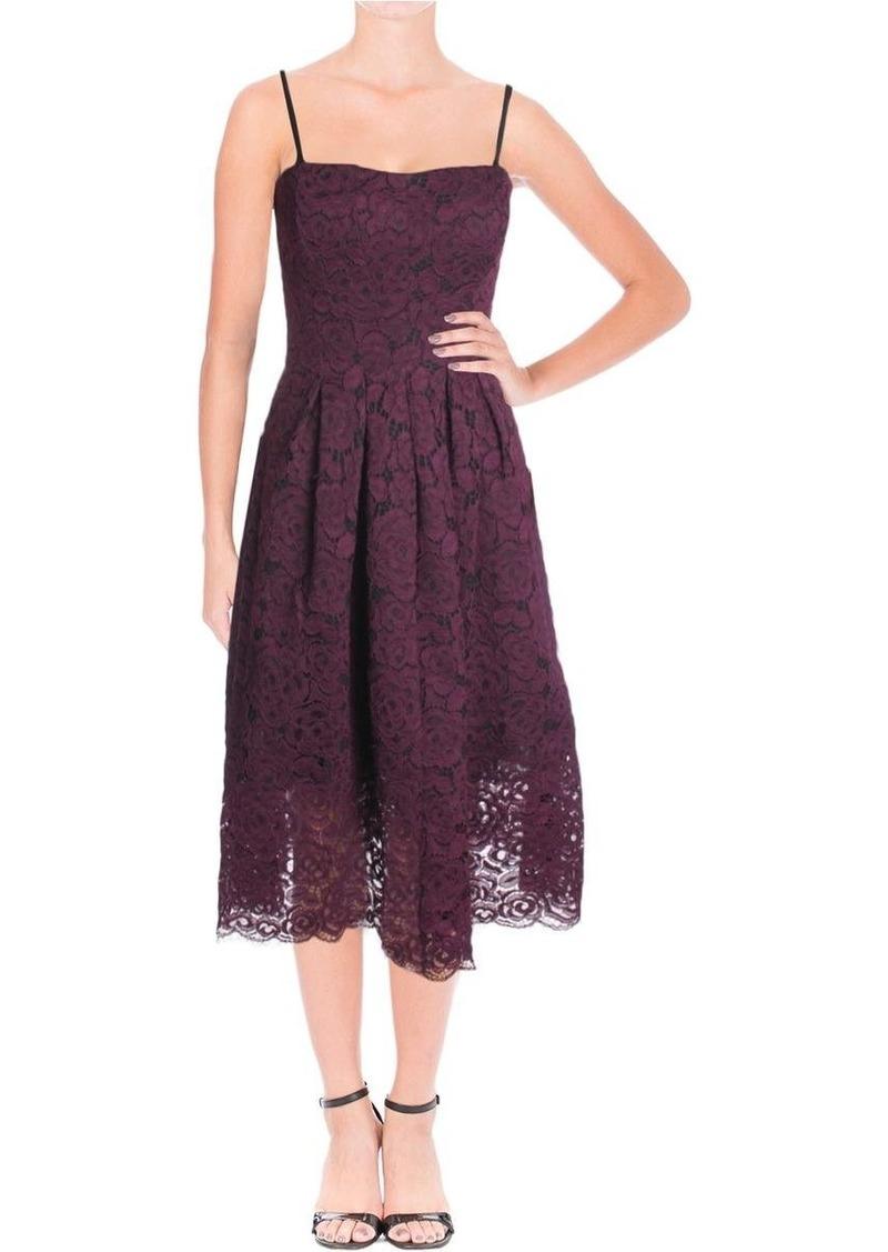 Vera Wang Women's Strappless Lace Tea Length Cocktail Dress
