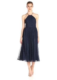 Vera Wang Women's Tee Length Halter Lace Cocktail Dress