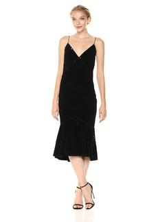 Vera Wang Women's Velvet Sequins Slip Dress With Flutter Skirt