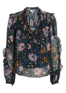 Veronica Beard Abra Lurex Floral Silk Blouse