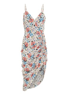 Veronica Beard Annabelle Silk Ruched Floral Dress