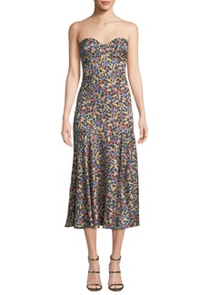 Veronica Beard Annika Strapless Floral Dropped-Waist Midi Dress