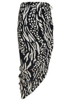 Veronica Beard Ari Ruched Animal Print Skirt