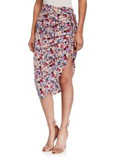 Veronica Beard Ari Ruched Floral Asymmetric Skirt