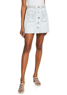 Veronica Beard Aron Exposed-Button Braided Mini Skirt