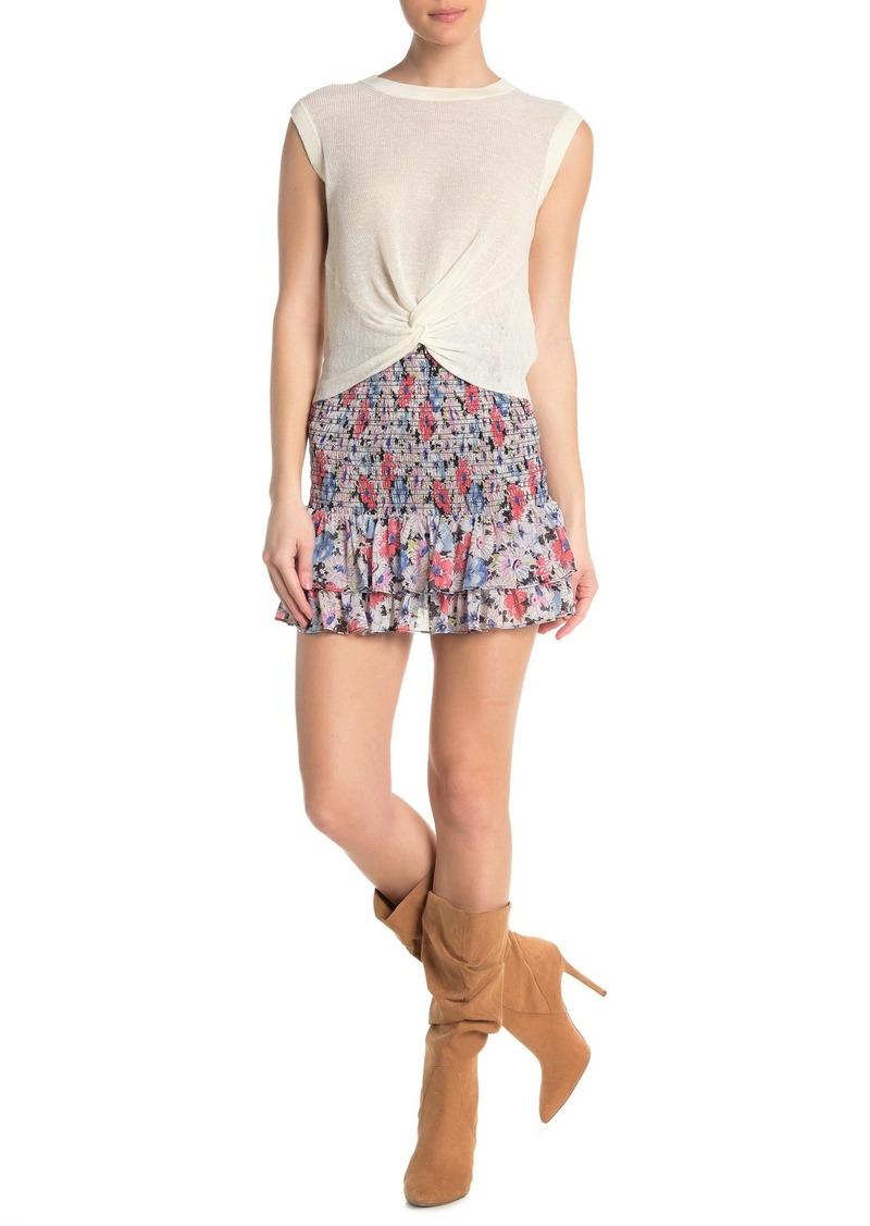 Veronica Beard Attila Smocked Floral Mini Skirt