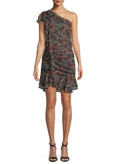 Veronica Beard Ballard Printed Ruffle One-Shoulder Mini Dress
