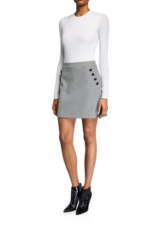 Veronica Beard Barnes Short Skirt with Buttons