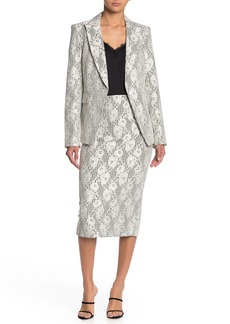 Veronica Beard Basil Gingham Lace Pencil Skirt