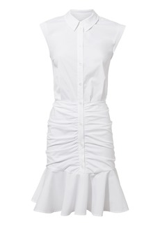 Veronica Beard Bell White Ruched Dress