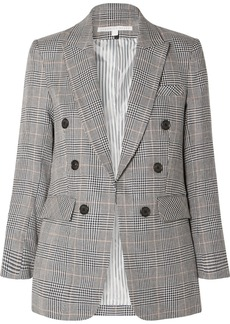 Veronica Beard Bexley Dickey Prince Of Wales Checked Linen And Cotton-blend Blazer