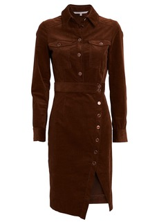 Veronica Beard Britton Velvet Midi Shirt Dress