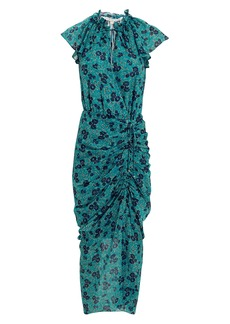Veronica Beard Brynlee Silk Gardenia Midi Dress