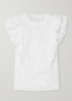 Veronica Beard Calisata Ruffled Broderie Anglaise Cotton-poplin Top