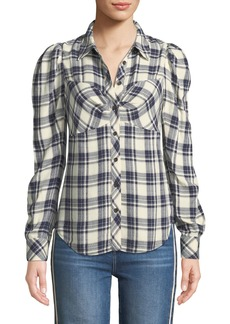 Veronica Beard Candice Plaid Fitted Blouse