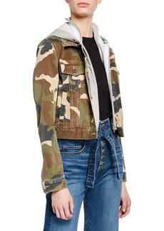 Veronica Beard Cara Jean Jacket w/ Removable Hoodie