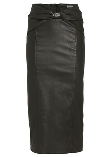 Veronica Beard Carlyn Bow Waist Leather Skirt