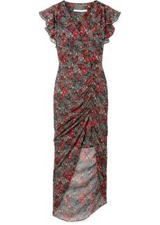 Veronica Beard Cecile ruffled floral-print silk-chiffon maxi dress