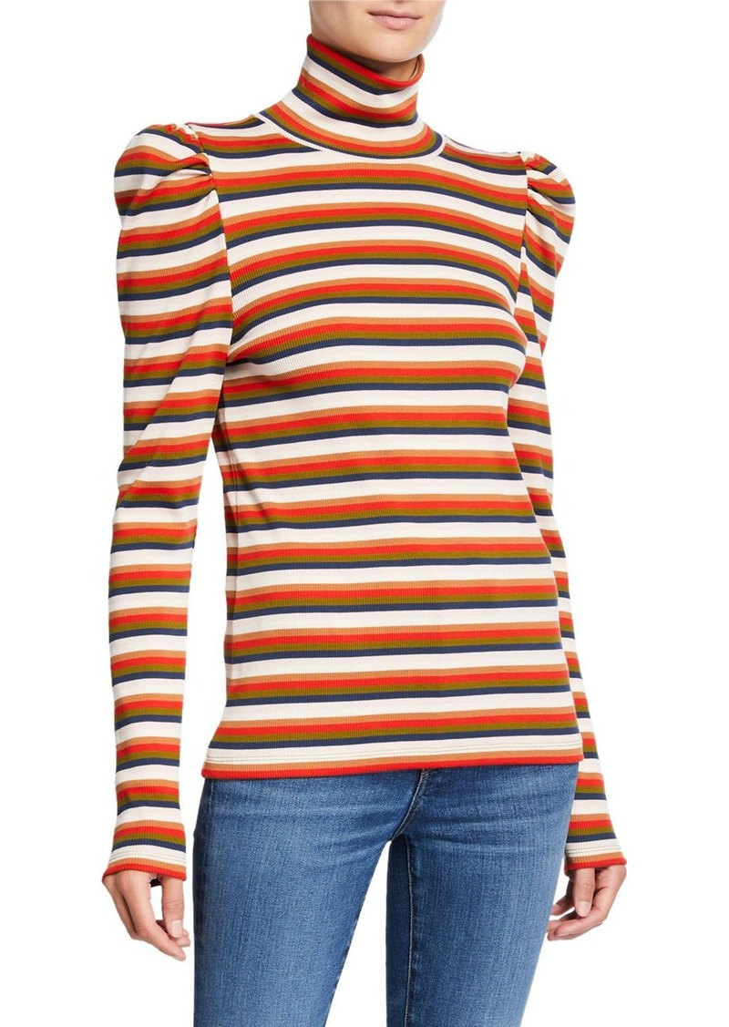Veronica Beard Cedar Puff-Sleeve Turtleneck Top