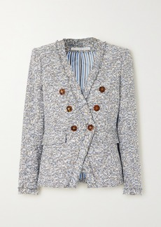 Veronica Beard Cedric Dickey Double-breasted Frayed Cotton-blend Tweed Blazer