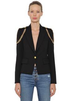 Veronica Beard Chain Embellished Stretch Crepe Blazer