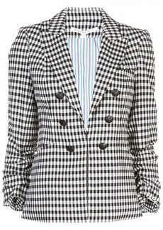 Veronica Beard check gathered sleeve blazer