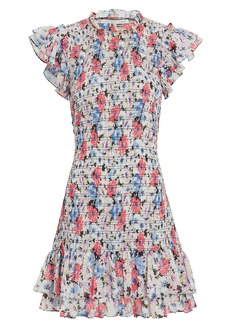 Veronica Beard Cici Ruched Floral Mini Dress