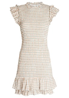 Veronica Beard Cici Smocked Gingham Dress