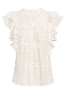 Veronica Beard Claire Ruffle Cotton Voile Top