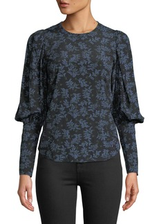 Veronica Beard Clarke Floral Button-Back Silk Top