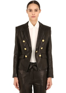Veronica Beard Cooke Double Breasted Leather Blazer