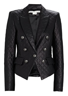Veronica Beard Cooke Quilted Leather Dickey Blazer